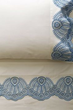 Blue and White Eyelet Embroidered Sheets. in loveee New Blue, Blue And White, Blue Grey, Home Bedroom, Bedroom Decor, Bedroom Ideas, Ideas Dormitorios, Stitch Crochet, Linens And Lace