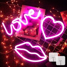3 Pieces Neon Signs for Wall Decor USB or Battery Pink Neon Lights - Standard (Multi color), Multicolor