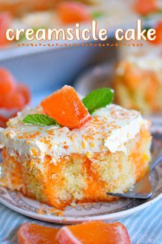 This easy Orange Creamsicle Poke Cake is a wonderful addition to all your summer parties! A lovely vanilla cake that is bursting with orange flavor and topped with a fluffy orange and vanilla frosting that no one will be able to resist! // Mom On Timeout #orange #creamsicle #cake #vanilla #dessert #desserts #cake #baking #summer