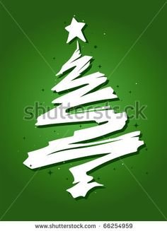 stock vector : Christmas Tree Design Featuring a Trail of Paint Shaped Like a Christmas Tree