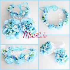 Mavi ortanca karışık çiçekli beyaz tomurcuklu tamtur taçlı lohusa seti