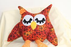 Stuffed owl, orange owl, childrens toy,  plush owl, shabby chic owl, Toy,  Nursery Decor,  owl, Owl Pillow, READY TO SHIP,  tots toy by KimsBizzyBees, $18.95 USD