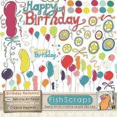 Birthday Balloon Clip Art  Confetti & Ribbons  Stars - Commercial Use Birthday Party Invitation ClipArt - Digital Scrapbooking Graphics, Digital Images.