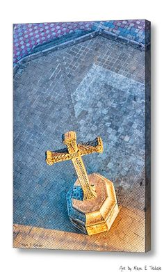 The Cross In The Golden Light - Granada Churchyard art by Mark E Tisdale - warm golden light and a Christian Cross from above at Iglesia la Merced.