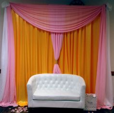 Pink, Yellow & White Draping with Chesterfield Love Seat