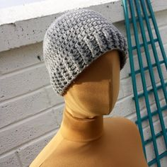 Grey Beanie - Crochet Hat For Women And Men. - pinned by pin4etsy.com