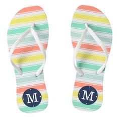 """Sunwashed Neon Summer Cabana Stripe Monogram Flip Flops  Step into cute summer style with our faded neon stripe flip flops. Design features wide stripes of sunwashed aqua, coral, chartreuse yellow and aqua, with your single initial monogram in navy blue at the heel.   Need another color or pattern, or help customizing? Contact me via the """"Ask this Designer"""" link on this page."""