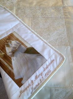 Blanket made from wedding dress.