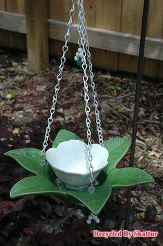 White Flower Hanging Bird Feeder Butterfly Feeder / Fine Art / Glass Art / Sculpture / Garden Yard Art by RecycledBySkattur, $26.00 USD