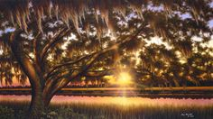 I have this painting hanging in my bedroom. He's a local artist from Charleston, SC - Jim Booth Art Gallery