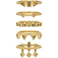 Luv AJ The Medley Stone Ring Set (€74) ❤ liked on Polyvore featuring jewelry, rings, accessories, 14 karat gold jewelry, luv aj, set rings, 14k stackable rings and 14 karat gold ring