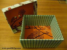 How to cover a box with fabric, using bookbinding glue.
