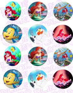 Disney Princess Ariel the Little Mermaid Inspired Edible Icing Cupcake Decor Toppers by BlingYourCake on Etsy https://www.etsy.com/listing/183641325/disney-princess-ariel-the-little-mermaid