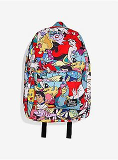 """<div>The perfect place to pack up your whos-its and whats-its! This canvas backpack from Loungefly has an allover <i>The Little Mermaid</i>design featuring Ariel, Prince Eric, Flounder, and more! Striped interior lining, interior laptop pocket. Padded back and adjustable straps. Front zip pouch pocket, zip closure.</div><div><ul><li style=""""list-style-position: inside !important; list-style-type: disc !important;"""">12"""" x 17""""</li><li style=""""list-style-position: inside !important; list-style-t"""