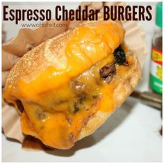 ~Espresso Cheddar Burgers!  #NationalCoffeeDay #OhBiteIt