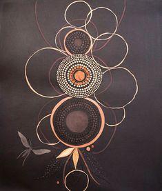 Lena Wolff. Printmaking idea for irregular circles in metalic on a dark background...