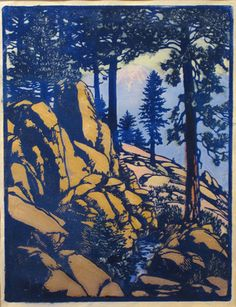 Solitude, 1934 by Frances Hammell Gearhart (b. 1869-1958), Californian artist (occasionally taught by Charles H. Woodbury) known for her colour woodcuts of the Sierras, the Pacific Coast, and the area around Big Bear Lake. She described sentinel trees, groves of eucalyptus, pines, oaks and Monterey cypress as well as valleys and canyons. http://www.francesgearhart.com/ Tags: Helen Elstone, Trees, Contrast, Rocks, Sunset
