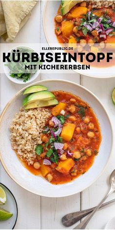 Dieses Rezept für einen Kürbiseintopf mit Kichererbsen ist ein einfaches Rezept voller warmer und geräucherter Aromen. Das kommt von dem geräucherten Paprika, der für einen leichten Tex-Mex-Einfluss sorgt. Dazu gibt es noch frischen Ingwer und rote Chili. Für geschmackliche Balance ist der Limettensaft zuständig, der dem Eintopf auch noch Frische gibt. #ellerepublic #vegan #vegetarisch #eintopf #rezept #gesund #butternutkürbis