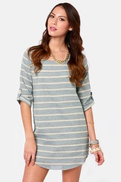 Cute for a casual day in the summer ! Blue Striped Shift Dress.