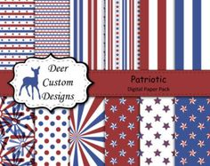 Patriotic Digital Paper Pack | 12 Patriotic Digital Scrapbook Papers | Commercial Use | Memorial Day July 4th July Fourth