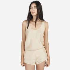 Comfortably sexy, this tank and short pair is your new excuse for staying in 100% silk Tank features a racerback shape with rounded hem and clean-finished edges Short is higher at the sides with longer inseams, and features a waistband that is elastic at the back and flat at front Wash by hand in cold water, lay flat to dry