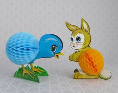 Vintage Easter Decor, Honeycomb Fold Outs, 60s 70s Die Cut, Blue Chick, Orange Bunny, The Beistle Co, Made in USA, Art Tissue Decorations