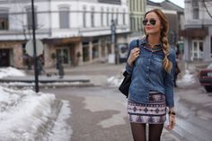 Aztec skirt and jeans shirt.