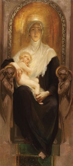 ALOIS HANS SCHRAMM (Austrian 1864-1919) The Madonna and Child Enthroned Oil on canvas Stretcher stamped and inscribed.