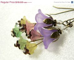 beadcap earrings | Lucite Flower Earrings in Spring Blossoms with Antique Bronze Bead Cap