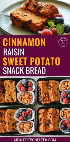 Cinnamon Raisin Sweet Potato Snack Bread - Cinnamon Raisin Sweet Potato Snack bread is a sweet and satisfying treat to enjoy for breakfast or snack with a hot cup of tea. Gluten Free Recipes For Lunch, Vegan Dessert Recipes, Vegan Snacks, Healthy Snacks, Breakfast Recipes, Breakfast Ideas, Bread Recipes, Healthy Recipes, Protein Snacks