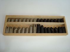 "Bronze and steel modernist chess set. Very minimalist. Original box but no cover. sizes vary: 1.75"" to 3""h."