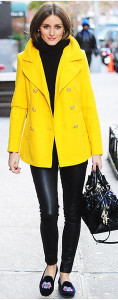 Yellow P-coat, yes please Olivia Palermo, coat: old navy, shoes: Stubbs