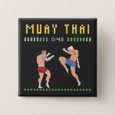 8-Bit Thai Boxing Pinback Button - retro gifts style cyo diy special idea