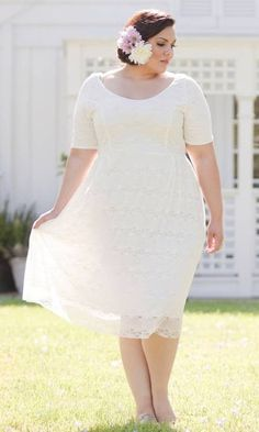Plus Size Wedding Dresses Lace Jacket. Love Tea Length, would have ...