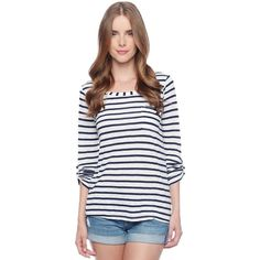 Splendid Venice Stripe Pocket Tee ($74) ❤ liked on Polyvore featuring tops, t-shirts, white, vintage striped t shirt, long sleeve t shirts, white tee, striped t shirt and white stripes t shirt