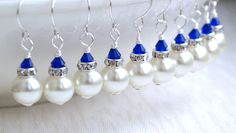 Royal Blue Bridesmaid Gift Earrings Ivory Glass pearl beads Rhinestone spacer Crystal wedding party beaded jewelry Royal Blue  jewelry. $9.50, via Etsy.