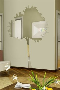 Wall Decals Reflective Skinny Tree- WALLTAT.com Art Without Boundaries 31W x 47 H also 37x60, 47x72