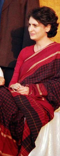 Priyanka Gandhi in Handloom Saree - saree_inspiration