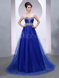 Beading Floor-Length Royal Blue Evening Dress - Get splendid discounts up to 70% Off at Milanoo using Coupon & Promo Codes