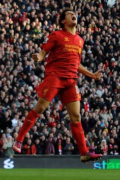 Great image of Philippe Coutinho celebrating his goal today against Swansea at Anfield. #LFC