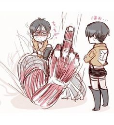 Attack on Titan ~~ Eren's Titan form has a boo-boo on its finger. Kiss it, Levi, and make it better, okay?