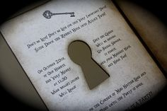 Alice in Wonderland/Mad Hatter's Tea Party KEY HOLE invitation for any occasion.... $6.75, via Etsy.