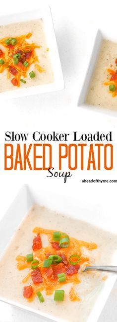 Slow Cooker Loaded Baked Potato Soup: Nothing says comfort food like a bowl of slow cooker loaded baked potato soup topped with cheddar cheese, crumbled bacon and green onions. | aheadofthyme.com via @aheadofthyme