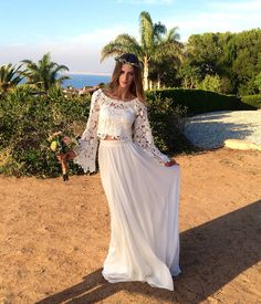 Alana 2-Piece Lace + Silk Chiffon Bohemian Wedding Dress. BELL SLEEVE hippie boho style wedding dress. DREAMY off shoulder wedding gown.