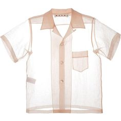 Marni sheer short sleeve shirt (1.128.675 COP) ❤ liked on Polyvore featuring tops, blouses, shirts, short sleeve collared shirts, short sleeve blouse, sheer white blouses, white collar shirt and sheer shirt