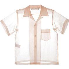 Marni sheer short sleeve shirt (469 CAD) ❤ liked on Polyvore featuring tops, blouses, shirts, see through blouse, short sleeve shirts, short-sleeve shirt, shirt blouse and sheer shirt