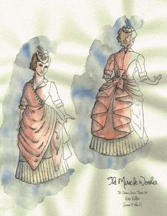 The Miracle Worker (Kate Keller). Costume design by Joscelyne Oktabetz. The Miracle Worker, Costume Design, Ephemera, Theatre, Sketch, Illustrations, Costumes, Brown, Inspiration