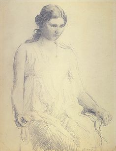 """Study of a young woman"" (1895) by Abbott Handerson Thayer"