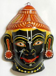Krishna Mask - Wall Hanging (Papier Mache))