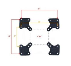 Universal VESA Adapters for TV Wall Mount 100x100 to reach 200x200, 200x100